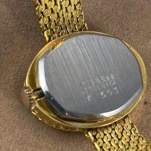 Vintage Accessories - Bucherer Cuff Bracelet Watch Black Face Gold Hands